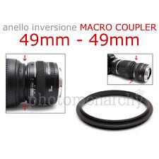 Anello MACRO COUPLER adattatore INVERSIONE 49mm - 49mm 49 49 Canon Nikon Sony