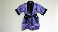 Thai Silk-Blend Child's Robe Kimono Purple Reversible Dragon/Unisex - S (New)