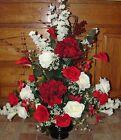Christmas Day Red White Silk Flower Arrangement Wedding Altar Vase Reception