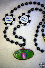 "All in Poker ""Hotter N' Sex"" Mardi Gras Casino Chip Necklace Bead Cards (B203)"