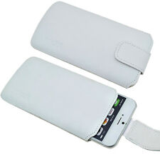 """Iphone 7 Plus (5.5"""") Funda de Cuero Auténtico Blanca Cubierta Incl. Silicona"""