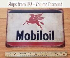 Vintage Mobil Sign Mobiloil Mobil Gas Station Sign Exxon Metal Sign Garage Tin