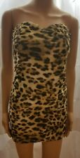 Forever 21 Dress Brown Leopard Bodycon Stretch Clubwear Strapless Party Size L