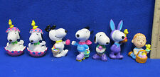 Snoopy Easter Figurines Linus Woodstock Peanuts Gang Cake Topper Lot of 7