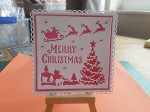 Handmade Christmas Card Topper, Tree, Reindeer, Sentiment.