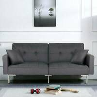 Luxury 3 Seater Fabric Sofa Bed With Pillows Recliner Click Clack Settee Sofa