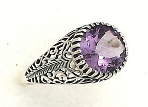 Ring Amethyst Or Blue Topaz 925 Sterling Silver Antique Style