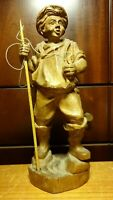 "VINTAGE 9"" GERMAN WOOD HAND CARVED FISHERMAN SPEAR CATCHED FISH STATUE FIGURINE"