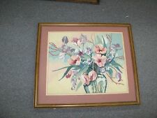 "Vintage Hand Made Stitched Needlepoint 14"" x 17"" Framed 19""x22"" Flower Vase"