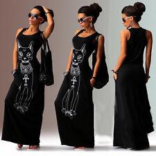 Boho Women Floral Maxi Dress Sleeveless Summer Evening Long Skirt Beach Sundress