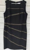 Calvin Klein Size 14 Dress Sleeveless Gold Black Midi