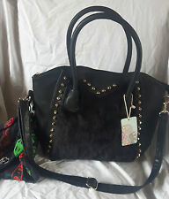 BLACK FAUX FUR VEGAN LEATHER HANDBAG WITH STUDS AND FREE SKULL SCARF NEW TAGS