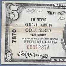 TN  1929 $5   ♚♚ COLUMBIA,TENNESSEE ♚♚  THE PHOENIX NB     HARD TO FIND