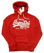 Superdry Men's Pitch Red Vintage Logo Fleece Lined Pullover Hoodie