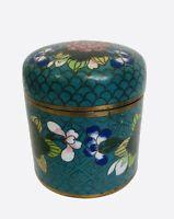 Vintage Chinese Cloisonne Enameled Floral Lidded Round Box and Coaster Ashtray