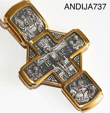 Big Russian Orthodox Cross, Silver 925+.999 Gold Plating. 24K. St.Nicholas. New
