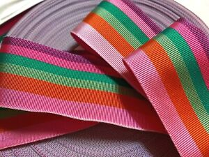 "Vintage Acetate Grosgrain Trim 1.5"" Ribbon Stripes 1yd Made in USA"