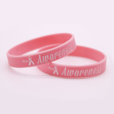 Breast cancer awareness Silicone Rubber Wristband bracelet jewelry