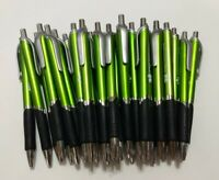 30 piece Lot Misprint METALLIC OLIVE GREEN Retractable click Pens w/Grip