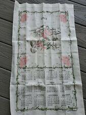New listing Vintage Linen Hummingbird Calendar Kitchen Tea Towel 1993 Birds FlowerBrand New