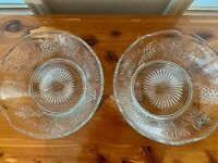 Pair of Vintage Clear Glass Bowls Grape Leaf Scalloped Herringbone Fruit VTG