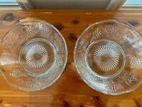 Pair of Vintage Clear Glass Bowls Grape Leaf Scalloped Herringbone Fruit VTG