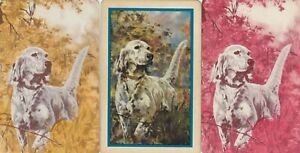 ART - DOGS -  3 -- single vintage swap playing cards !