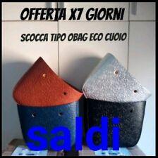 BORSA donna tipo O bag  artigianale grande eco cuoio 40/32/12 accessori ottima