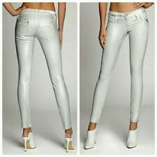 GUESS Moto Skinny Premium Jeans Distressed Silver Foil COATED Extreme Stretch 32