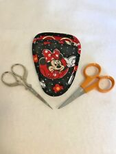 Handmade MINNIE MOUSE III on black Quilted embroidery needlework scissor holder