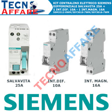 SIEMENS KIT DIFFERENZIALE SALVAVITA + 2 INTERRUTTORI MAGNETOTERMICI 1 MODULO