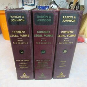 RABKIN & JOHNSON CURRENT LEGAL FORMS  VINTAGE 1974  3 BOOKS 2-2A-2B