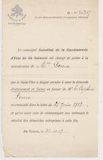 internement en Suisse. Demande du SAINT PÈRE. Etat de Sainteté. Vatican. 1917.