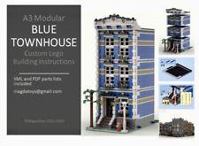 LEGO CUSTOM MODULAR INSTRUCTIONS MANUAL BLUE TOWNHOUSE PDF MOC A3 train city