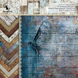12x Vintage Paper Pad Scrapbooking Single-sided Album Journal Card Decor Crafts