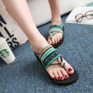 Women Flats Heel Flip Flop Slide Sandals Summer Travel Beach Elastic Casual Shoe