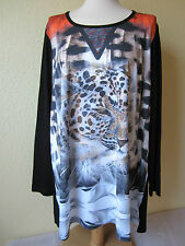 SEMPRE PIU by Chalou Tunika Shirt Gr. 46 Tiger schwarz-bunt  NP 79,90€