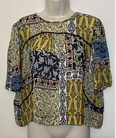 WESTON Anthropologie Medium Blouse Yellow & Blue Relaxed Fit Crop Top