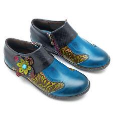 NEW Retro BLUE leather ankle shoes - size 8.5 Australian