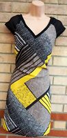 G21 BLACK YELLOW SNAKE SPOTTED STRIPED V NECK SHIFT TUNIC SHORT SLEEVE DRESS 12