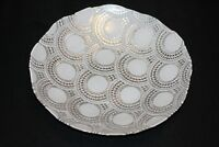 Murano Italian Art Glass Plate -Large - White & Silver Concentric Circles Design