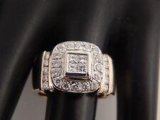 1.10 tcw Princess Quad Illusion Halo Diamond Engagement Ring Designer 14k G/VS