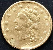 USA 1836 Gold 2.5 Dollar Goldmünze Quarter Eagle Classic Head Damaged 5408