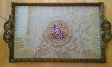 Vintage/Antique Dressing Table Vanity/Perfume/Grooming Tray Lace/Embroidery