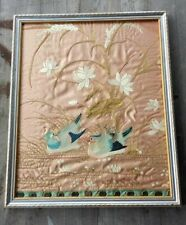 Stunning 19th-Century American Framed Silk-on-Silk Embroidery Panel Adirondacks