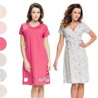 Short sleeve Maternity Pregnancy Nursing Breastfeeding Nightdress Nightie button