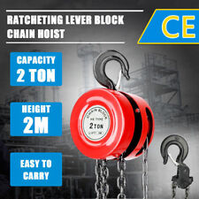 NEW 2 Ton Block and Tackle 2M Chain Block Hoist Crane Chain Lifting Pulley Tool