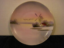 Meito China Hand Painted Made In Japan Small Plate Barn & Windmill Scene