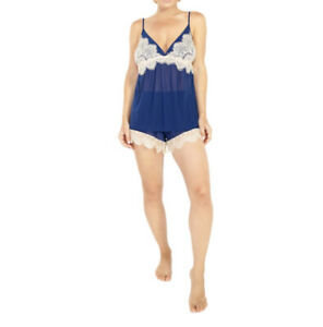 NEW Rhonda Shear 4809 Up All Night Sheer Navy Cami and Short Set Lingerie Large