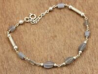 Gray Moonstone Box Beads Gift Bracelet Solid 925 Sterling Silver Jewelry